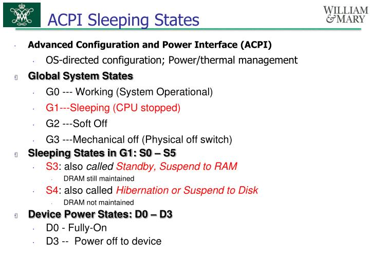 ACPI Sleeping States