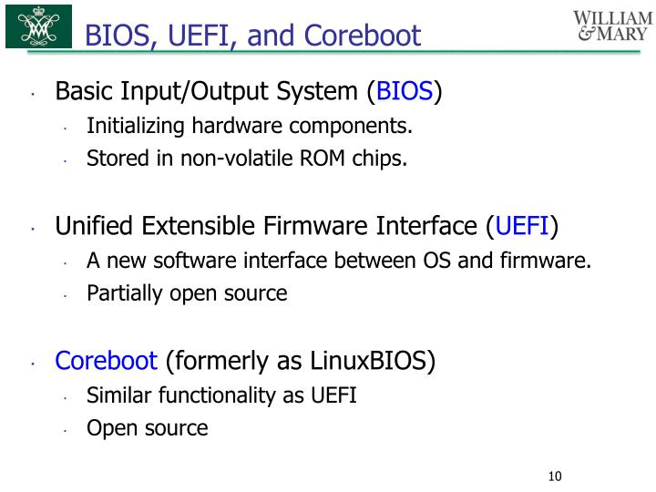 BIOS, UEFI, and