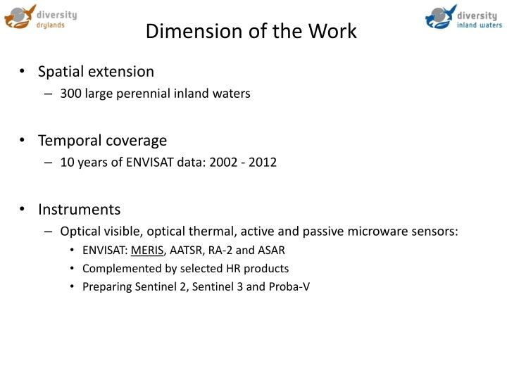 Dimension of the Work