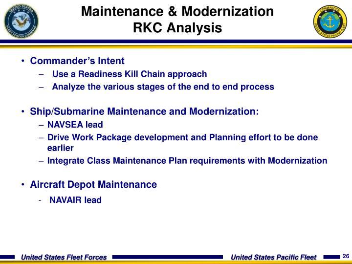 Maintenance & Modernization RKC Analysis