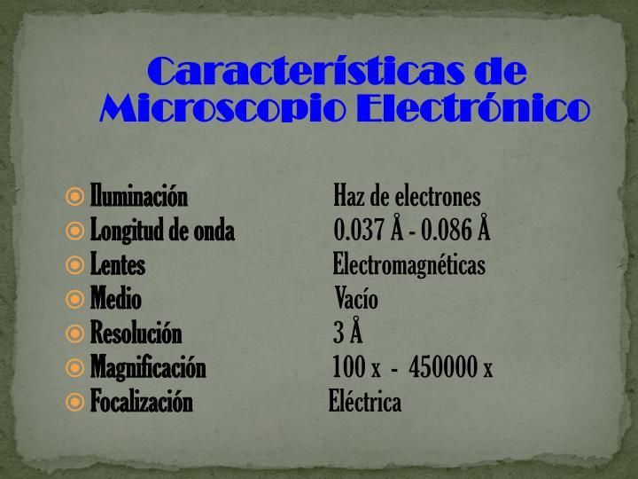 Características de Microscopio Electrónico