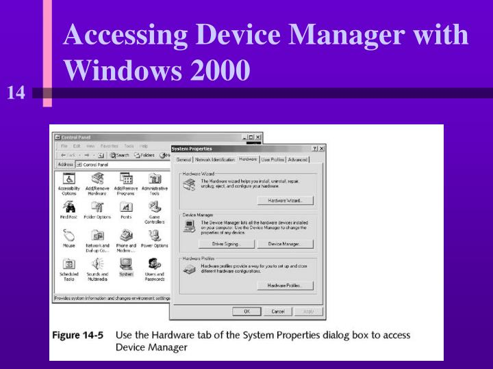 Accessing Device Manager with Windows 2000