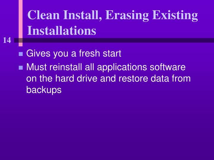 Clean Install, Erasing Existing Installations