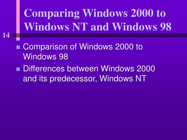 Comparing Windows 2000 to Windows NT and Windows 98