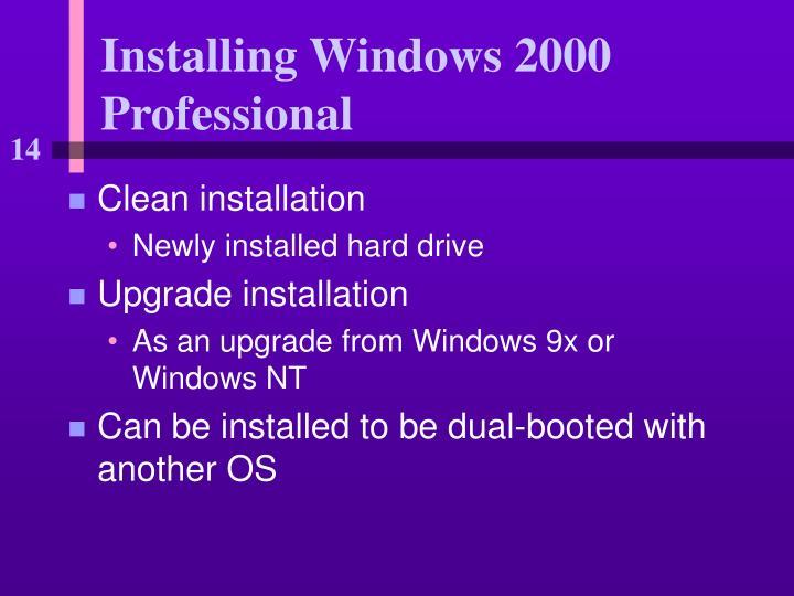 Installing Windows 2000 Professional