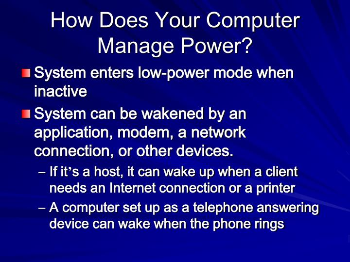 How does your computer manage power