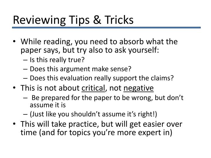 Reviewing Tips & Tricks