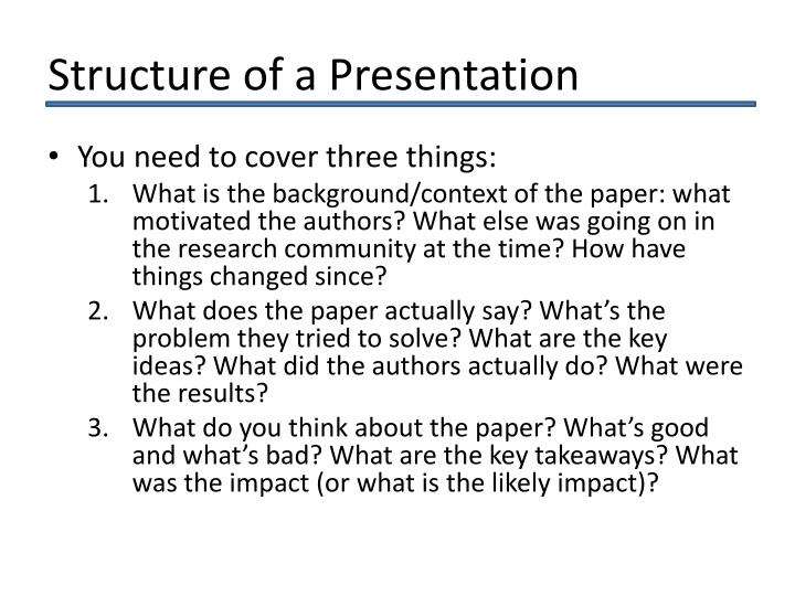 Structure of a Presentation