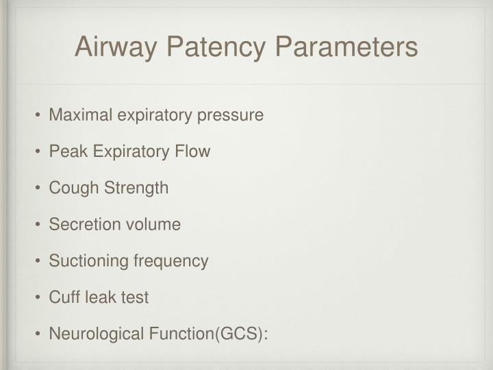 Airway Patency Parameters