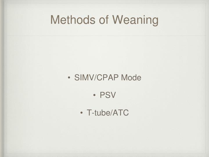 Methods of Weaning