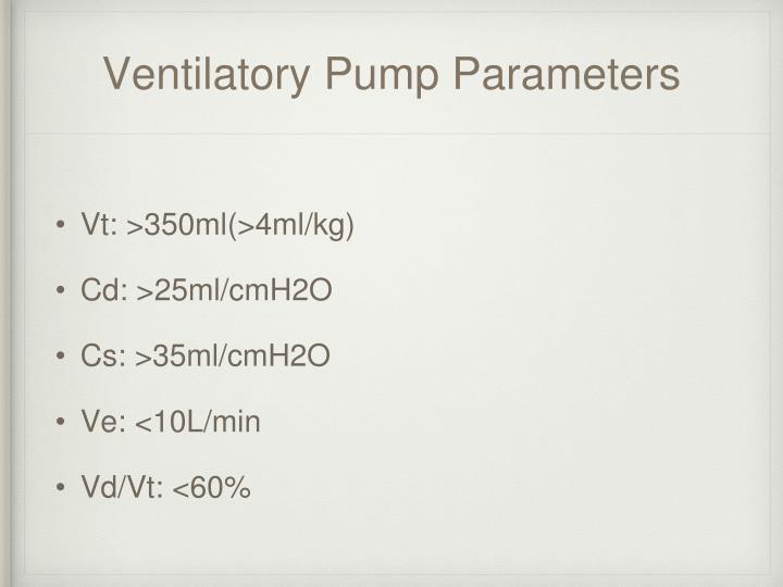 Ventilatory Pump Parameters