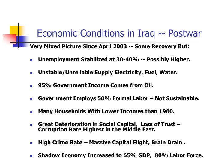Economic Conditions in Iraq -- Postwar