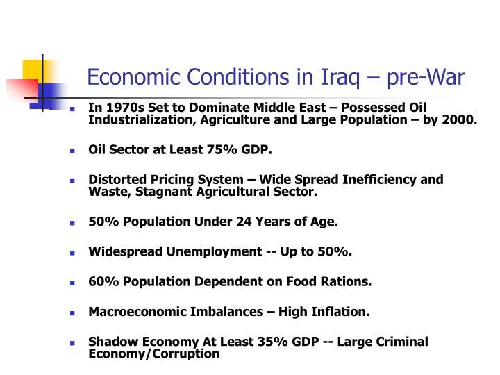 Economic Conditions in Iraq – pre-War