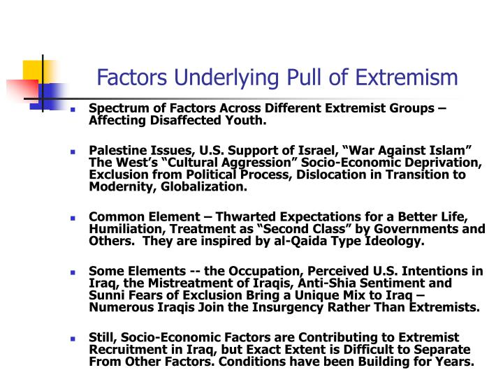 Factors Underlying Pull of Extremism