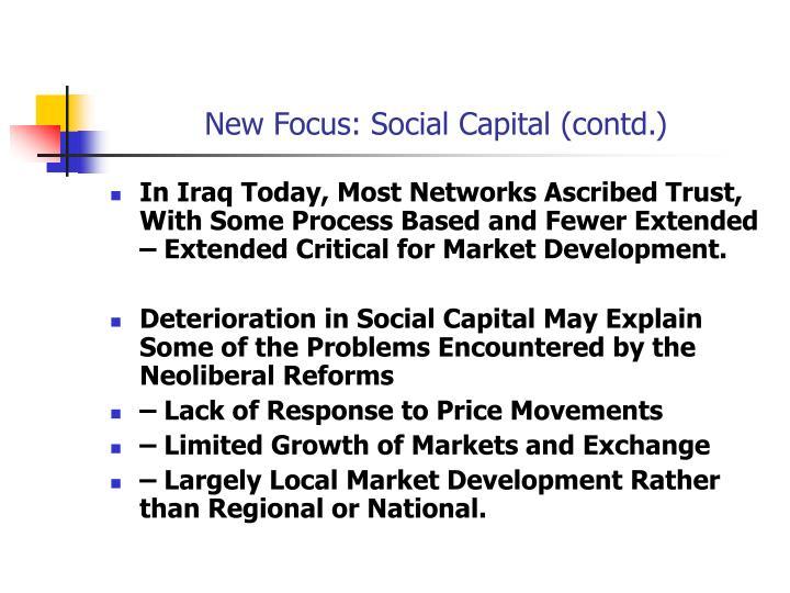 New Focus: Social Capital (contd.)