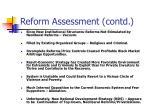 reform assessment contd