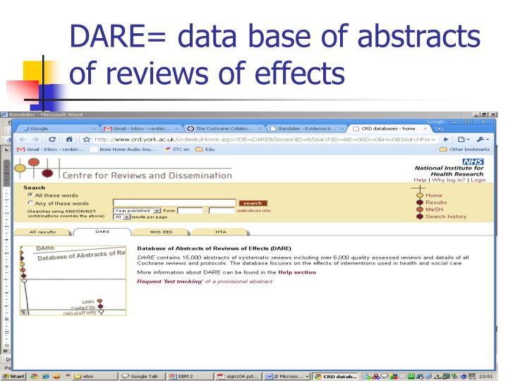 DARE= data base of abstracts of reviews of effects