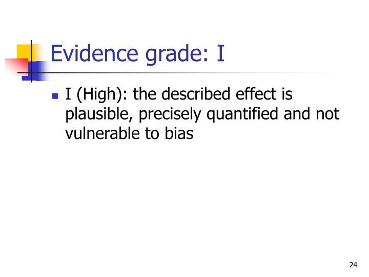 Evidence grade: I