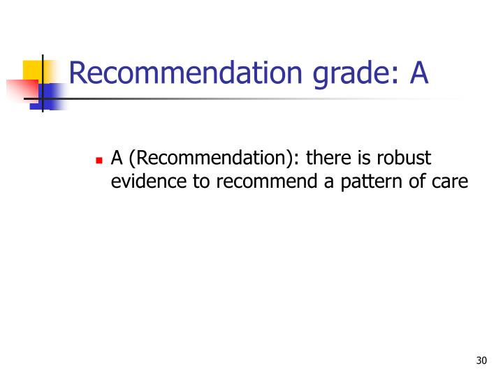 Recommendation grade: A