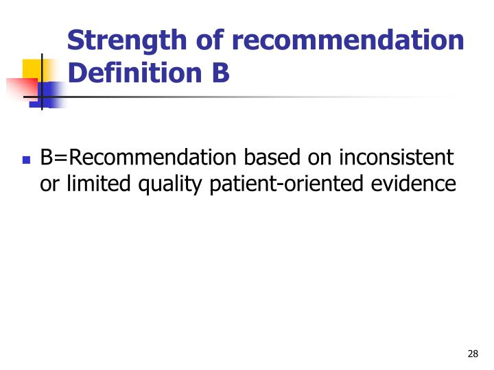 Strength of recommendation Definition B