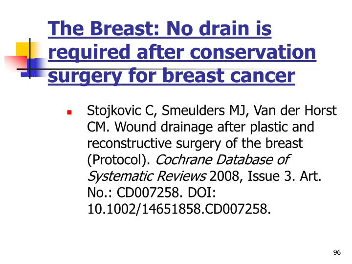 The Breast: No drain is required after conservation surgery for breast cancer