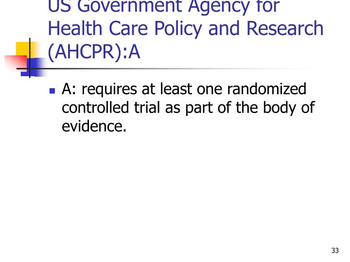US Government Agency for Health Care Policy and Research (AHCPR):A