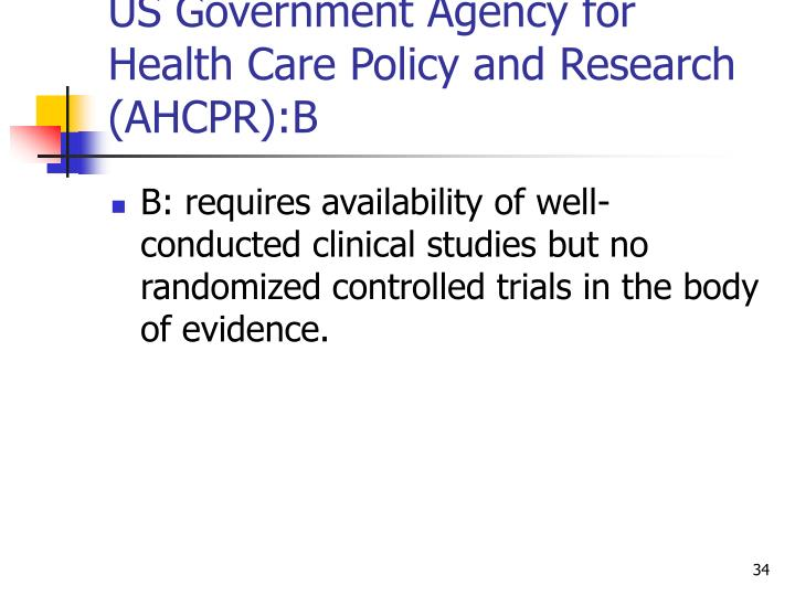 US Government Agency for Health Care Policy and Research (AHCPR):B