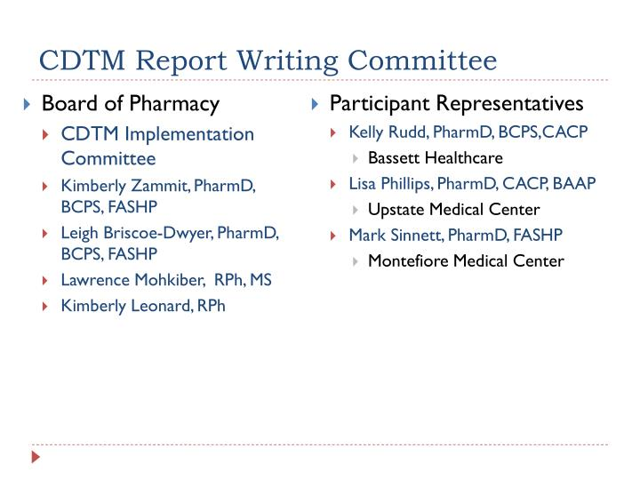CDTM Report Writing Committee