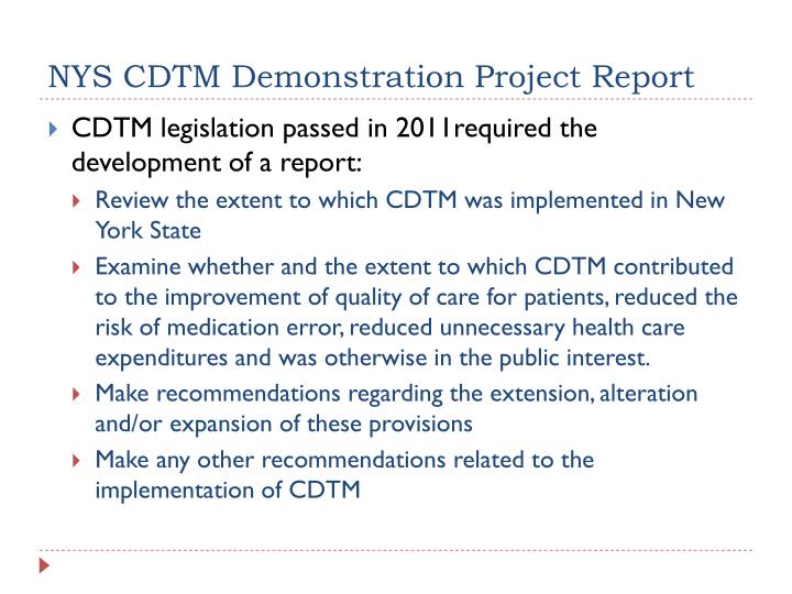 NYS CDTM Demonstration Project Report