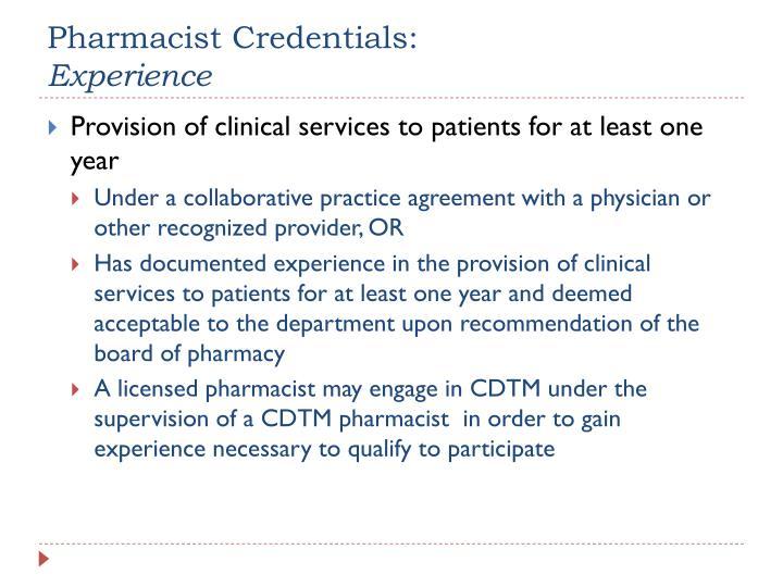 Pharmacist Credentials: