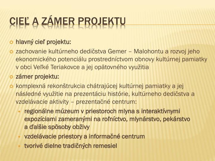 hlavný cieľ projektu: