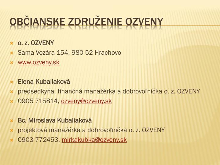 o. z. OZVENY