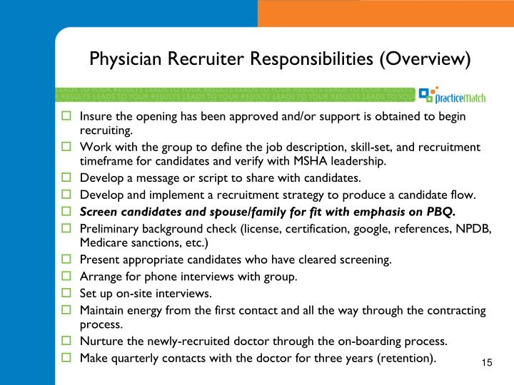 Physician Recruiter Responsibilities (Overview)