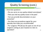 quality screening cont