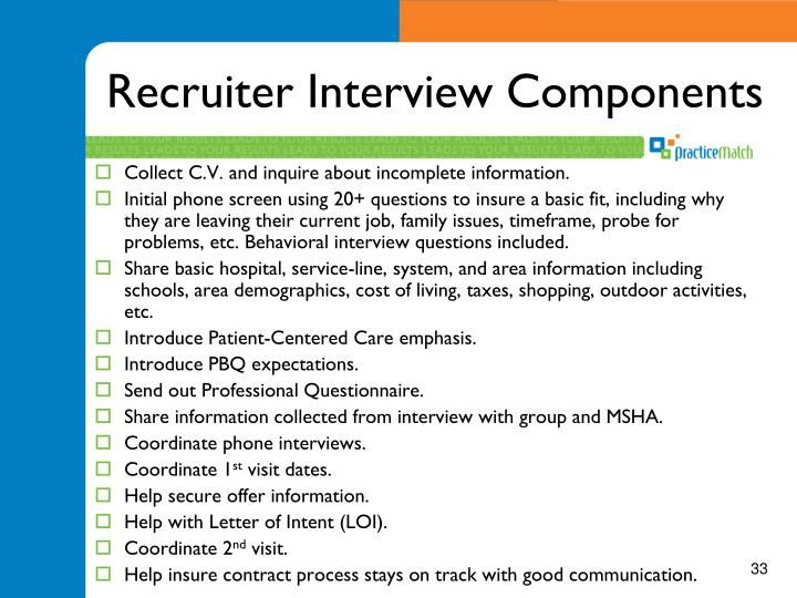 Recruiter Interview Components