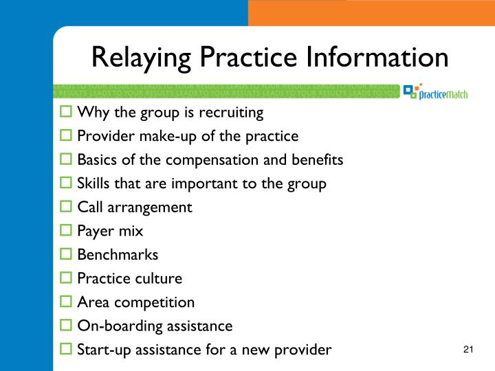 Relaying Practice Information