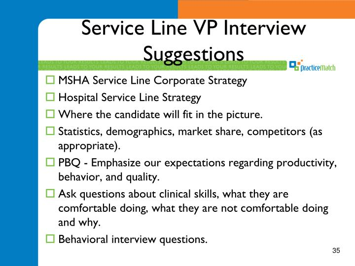 Service Line VP Interview Suggestions