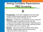 setting candidate expectations pbq screening