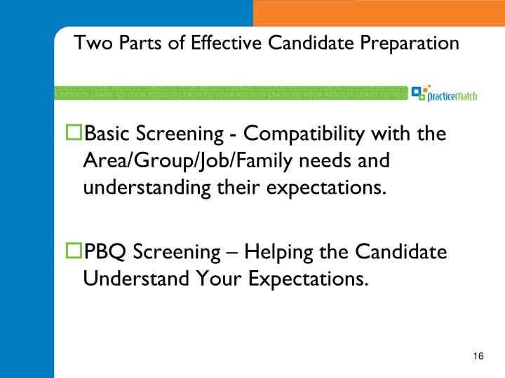 Two Parts of Effective Candidate Preparation