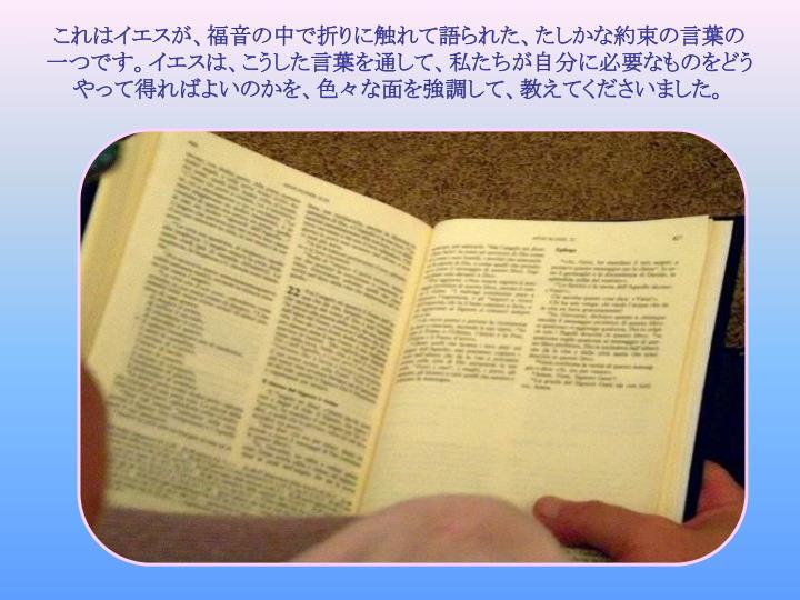これはイエスが、福音の中で折りに触れて語られた、たしかな約束の言葉の