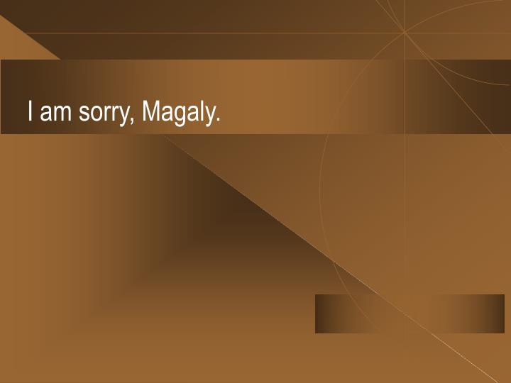 I am sorry, Magaly.