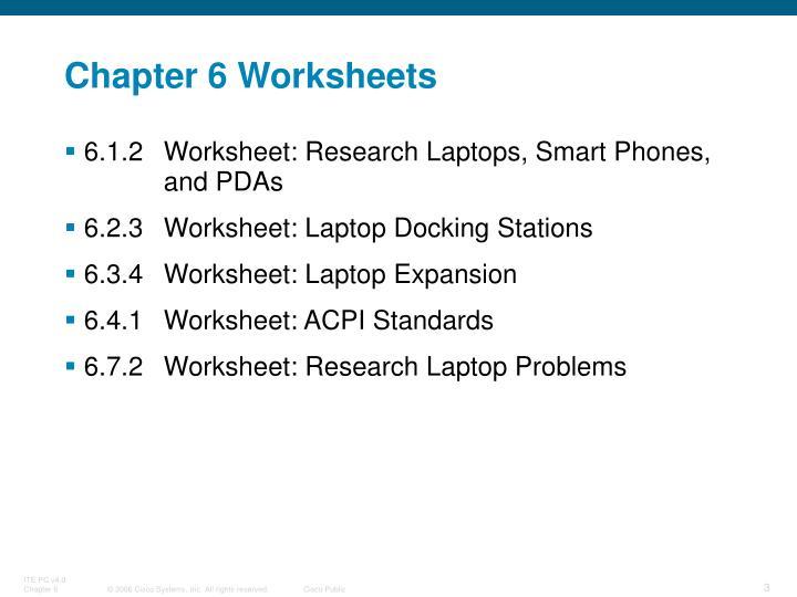 Chapter 6 Worksheets