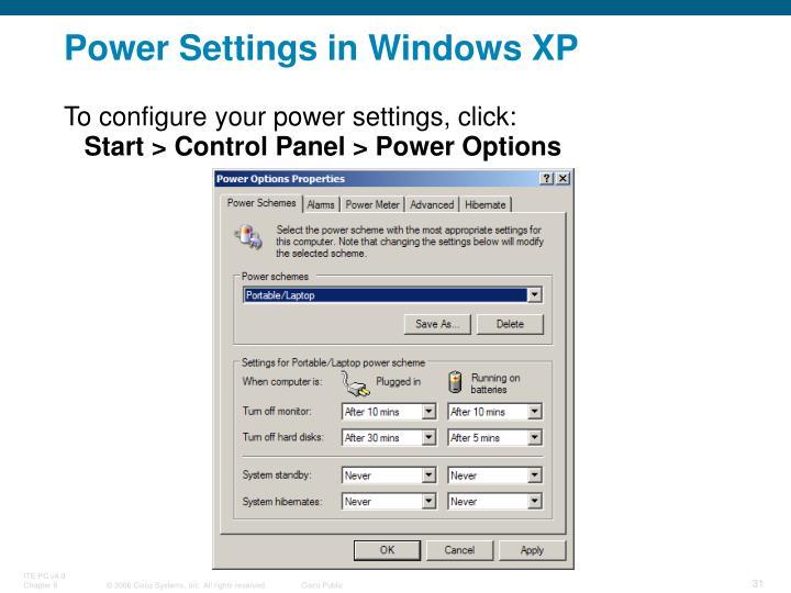 Power Settings in Windows XP