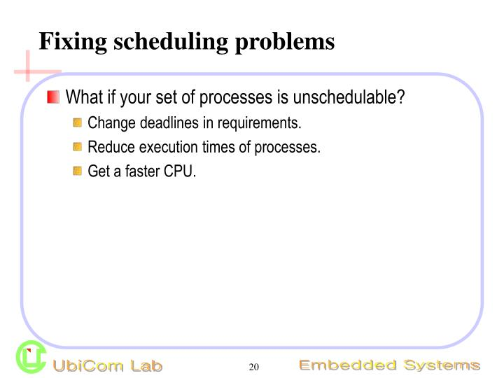 Fixing scheduling problems