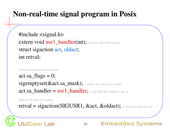 Non-real-time signal program in Posix