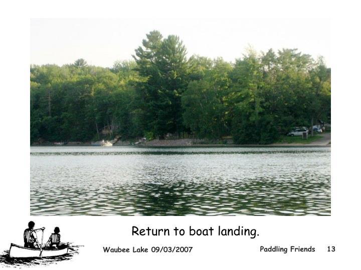 Return to boat landing.