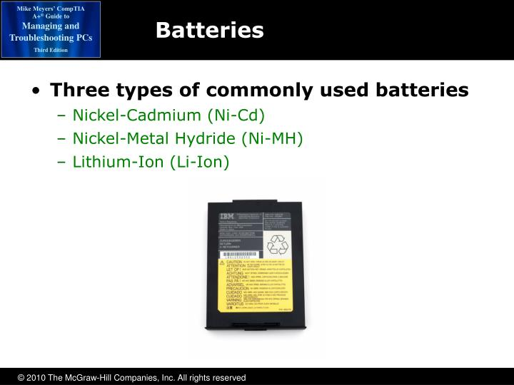 Three types of commonly used batteries