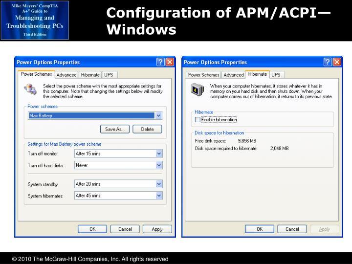 Configuration of APM/ACPI