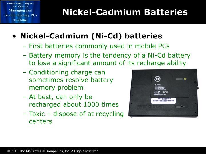 Nickel-Cadmium (Ni-Cd) batteries