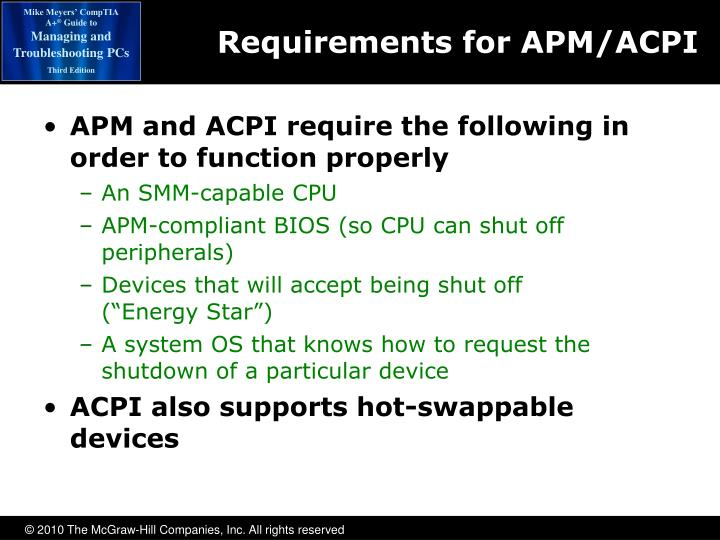 Requirements for APM/ACPI